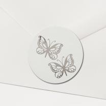 """Briefsiegel """"silberne Schmetterlinge"""" - mit festlicher Silberfolienprägung"""