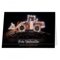 """Weihnachtskarten """"Baubranche"""" in pfiffiger, festlicher Gestaltung mit illuminiertem Bagger"""