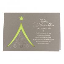 """Weihnachtskarte """"für Firmen"""" mit edler Silberfolienprägung und raffinierter Laserstanzung, die den Blick auf das doppelseitige grüne Einlegeblatt freigibt."""