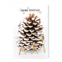 """Weihnachtskarten """"Personalleasing/Zeitarbeit"""" aus stilvollem Bilderdruckkarton mit witzigem Weihnachtsmotiv"""