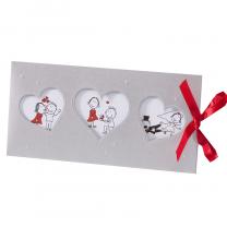 Witzige Einladungskarten auf schimmerndem Metallickarton mit hübscher Satinschleife