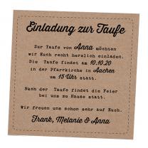 """Zusatzkarte """"Einladung zur Taufe"""" auf modernem Kraftkarton"""