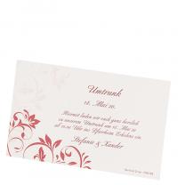 """Zusatzkarten """"Umtrunk"""" mit roten, floralen Ornamenten"""