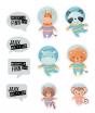 """Ausgefallene Geburtskarten """"Astronaut"""" - die Applikationen mit Text können angepasst werden. Alle Applikationen werden mitgeliefert."""