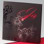 Asiatische Einladungskarte Hochzeit mit elegantem roten Einlegeblatt