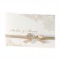 Edle Hochzeitseinladungen mit festlicher Zierschleife in der Farbe taupe