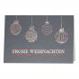 Edle Weihnachtskarten mit hochwertiger Rot- und Silberfolienprägung und internationalen Weihnachtswünschen