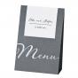 Edle Menükarten mit eleganter Silberfolienprägung - als Aufsteller zu verwenden
