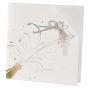 Elegante moderne Einladungskarte mit glänzender Gold- und Silberfolienprägung, raffinierter Falzung und charmanten Zierbändchen
