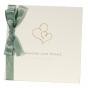 """Hochzeitseinladung """"Büttenkarton"""" mit glänzender Goldfolienprägung und edler Satinschleife"""