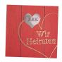 """Hochzeitseinladungen """"Rot"""" in hübscher Holzoptik"""