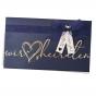 """Hochzeitskarten """"Blau"""" mit goldglänzender Reliefprägung, zarter Organzaschleife und charmanten Anhängern"""