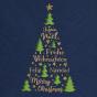 Internationale Weihnachtskarten auf blauem Metallickarton - Detailansicht