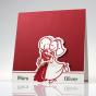 Lustige rote Hochzeitseinladungen im fröhlichen Design