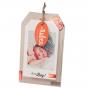 """Moderne Geburtsanzeigen """"Foto"""" aus trendigem Naturkarton mit edler Rotfolienprägung einem chicken Anhänger an einer Lederimitatkordel - für Ihr eigenes Foto"""