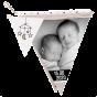 """Moderne Geburtskarten & Babykarten """"Wimpel"""" - Gestaltungsbeispiel Zwillinge"""