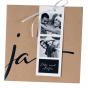 Moderne Hochzeitseinladung im trendigen Materialmix mit zarter Zierschleife - für Ihre Lieblingsfotos
