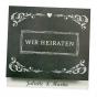 """Moderne Hochzeitseinladungen """"30er Jahre"""" auf schimmerndem Metallickarton"""