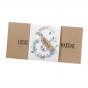 Moderne Hochzeitskarten aus trendigem Naturkarton mit blumiger Banderole aus Aquarellkarton