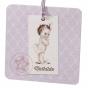 Retro Babykarten auf schimmerndem Metallickarton
