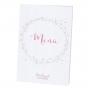 Romantische Menükarten auf weißem Metallickarton