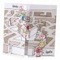 """Witzige Hochzeitseinladungen """"Labyrinth"""" auf weißem Metallickarton mit glänzender Rotfolienprägung"""