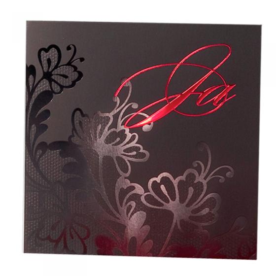 Asiatische Einladungskarte Hochzeit mit edler Rotf- und Schwarzfolienprägung