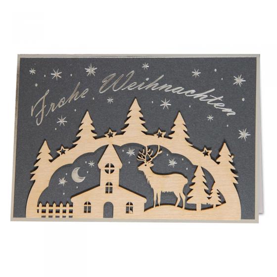 Ausgefallene Weihnachtskarte aus mattem anthrazitfarbenen Premiumkarton mit edler Silberfolienprägung und extravaganten Holzverzierungen
