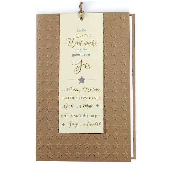 Ausgefallene Weihnachtskarten mit attraktivem Materialmix, effektvoller Reliefprägung und charmanten Anhänger mit Gold- und Silberfolienprägung