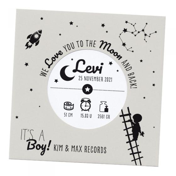 """Ausgefallene Babykarten """"Schallplatte LP"""" im modernen Design"""