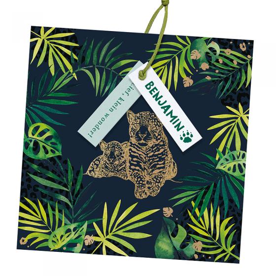 """Ausgefallene Geburtskarten """"Tiger & Dschungel"""" mit edler Goldfolienprägung"""