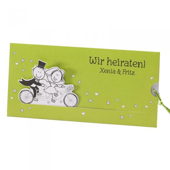 Ausgefallene, lustige Hochzeitskarten auf schimmerndem Metallickarton