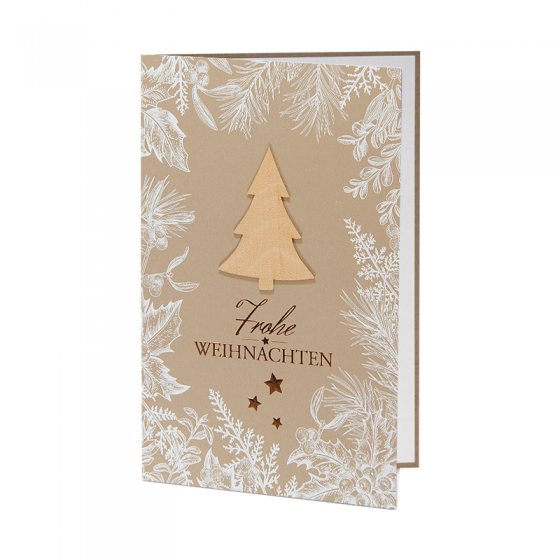 """Ausgefallene Weihnachtskarten """"Holz"""" aus trendigem Naturkarton mit wunderbaren Wintermotiven in matter Weißfolie, festlicher Kupferfolienprägung und extravaganter Echtholzapplikation"""