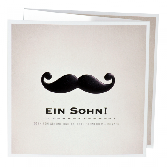 """Originelle Babykarten """"Schnurrbart"""" mit moderner Schwarzfolienprägung"""