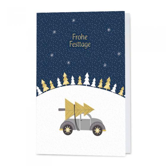 Besondere Weihnachtskarten, pfiffig mit Goldfolienprägung