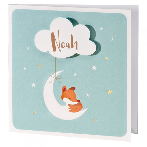 """Besondere Geburtskarten """"kleiner Fuchs"""" im modernen Design"""