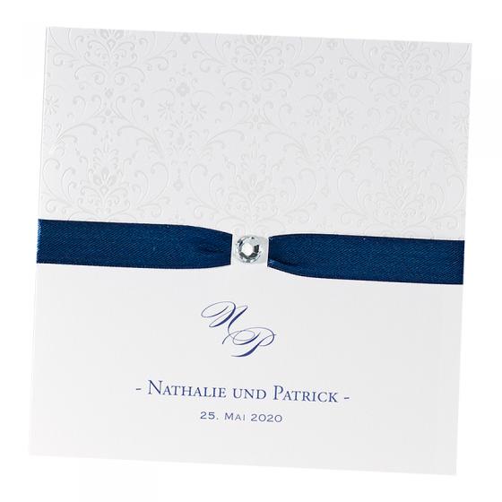 Blaue Hochzeitseinladungen mit Satinband und Strassstein