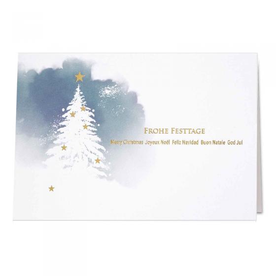 """Blaue Weihnachtskarten """"Spendenkarten"""" mit edler Goldfolienprägung"""