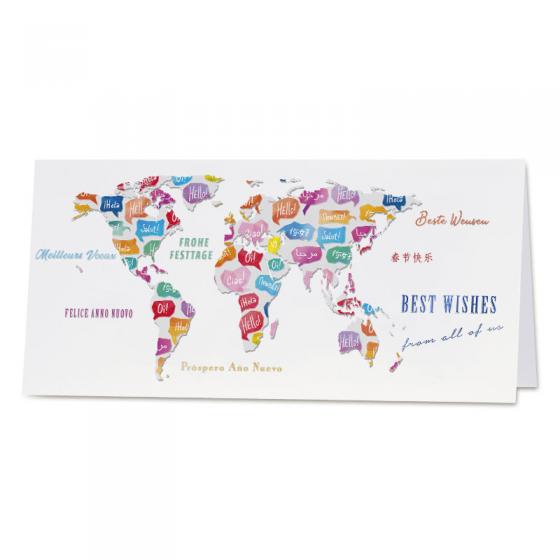 Bunte Neujahrskarte mit internationalem Design