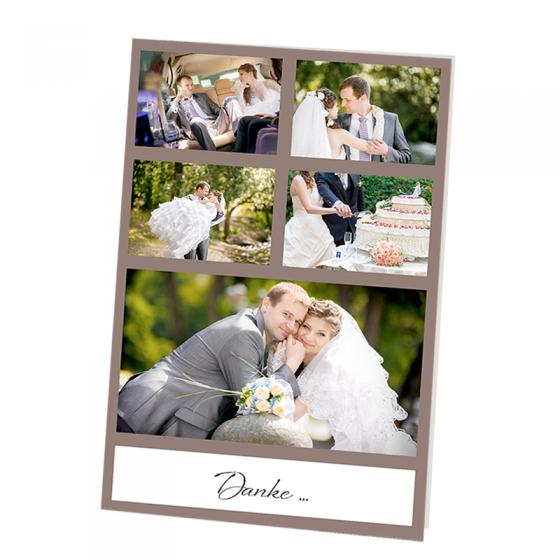 """Dankeskarten """"Hochzeit mit Foto"""" mit wählbaren individuellen Farbdesign"""
