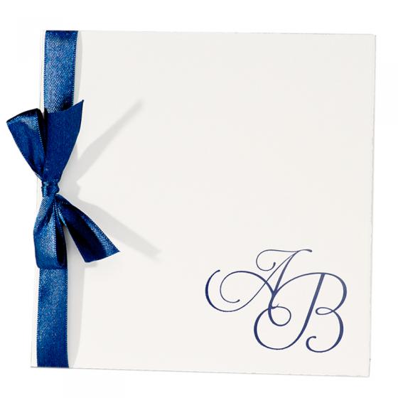 """Edle Einladungskarten """"Blau"""" aus festlichem Büttenkarton mit eleganter Zierschleife"""