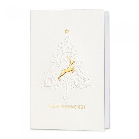 """Edle Weihnachtskarte """"Ornament"""" mit Blindprägung und glänzender Goldfolienprägung"""