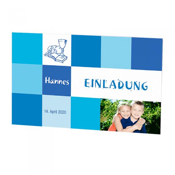 """Einladungen """"Hannes"""" für die Kommunion / Konfirmation im modernen Design."""