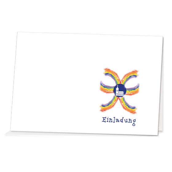 """Einladungen """"Tobias"""" zur Kommunion / Konfirmation im farbenfrohen Design."""