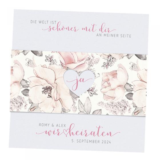"""Einladungskarten """"Hochzeit & Rosen"""" mit hübscher Rosenbanderole"""