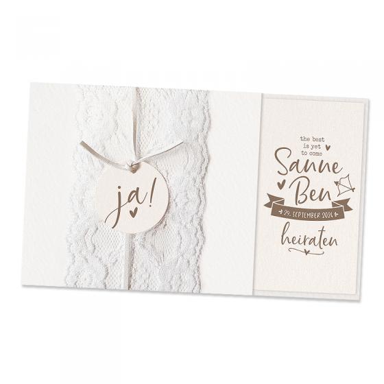 Elegante Hochzeitseinladungen mit festlicher Spitzenbordüre