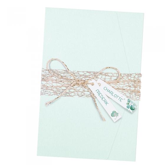 """Elegeante Hochzeitskarten """"Mint"""" - mit edlem Zierband"""