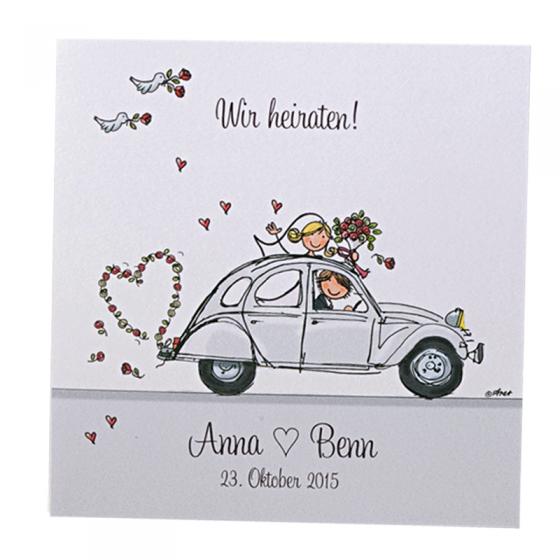 """Fröhliche Hochzeitseinladungen """"Flitterwochen"""""""