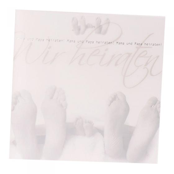 """Fröhliche Hochzeitseinladungen """"Familie"""" mit edler Silberfolienprägung und modernem Transparentumleger"""