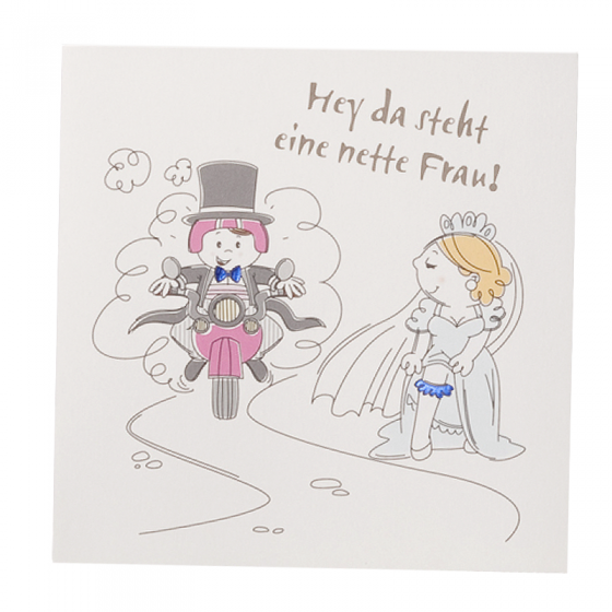 """Fröhliche Hochzeitseinladungen """"Motorrad"""" mit edler Blaufolienprägung"""